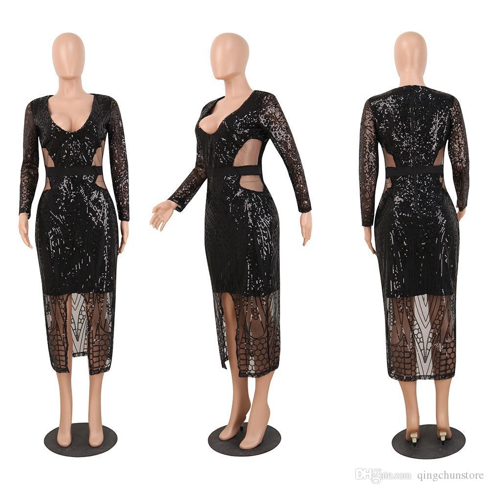 Glarm Lantejoulas bling bling vestidos de festa 2019 mangas compridas vestido Side Dividir bainha Fashion Club Mulheres vestido preto verde Champagne