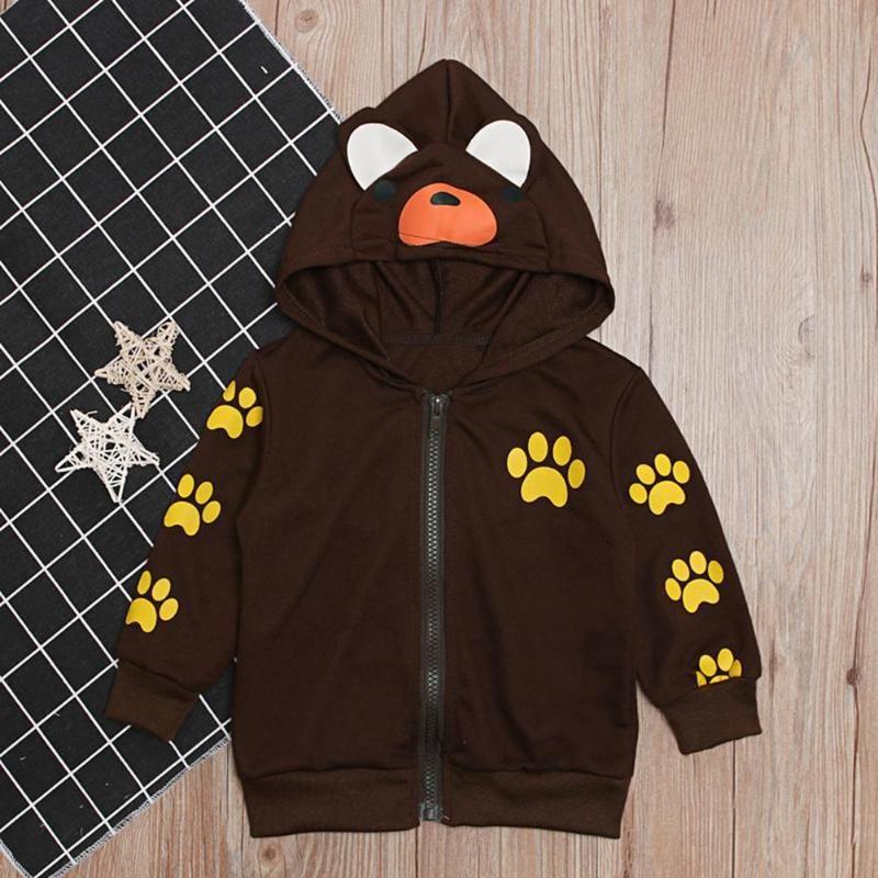 Toddler neonati cappotto Soft Comfort maniche lunghe con cappuccio di personalità di stampa animale bello di autunno della molla per il tempo libero Giacche