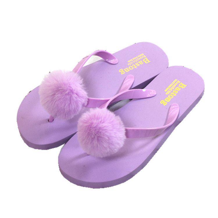2019 Fashion Pom Pom Women Flats Slippers Cute Colorful Ball Summer Slides Shoes Women Soft Bottom Beach bathroom Shoes