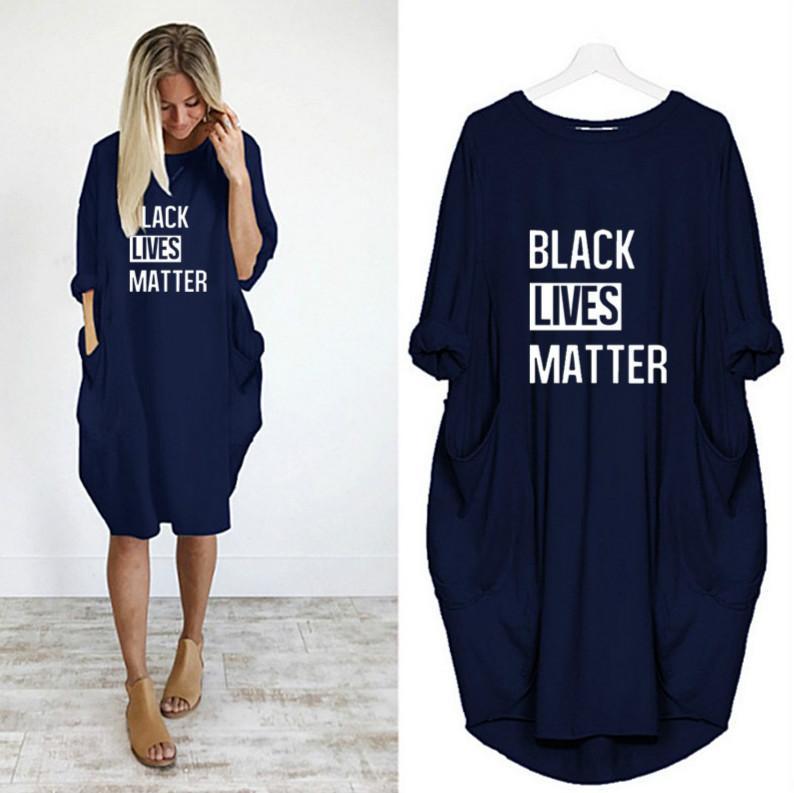 Womens Nero Lives Matter Nuova vestiti da modo vestito alla moda lettere della stampa di estate delle donne di alta qualità alla moda vestito casuale 2020 Estate