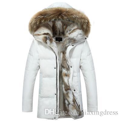 2021 Мужская мужская куртка внизу Новые длинные длинные корейские влюбленные размеры большой версии кролика зимняя куртка мужская утолщая секция меховой меховой