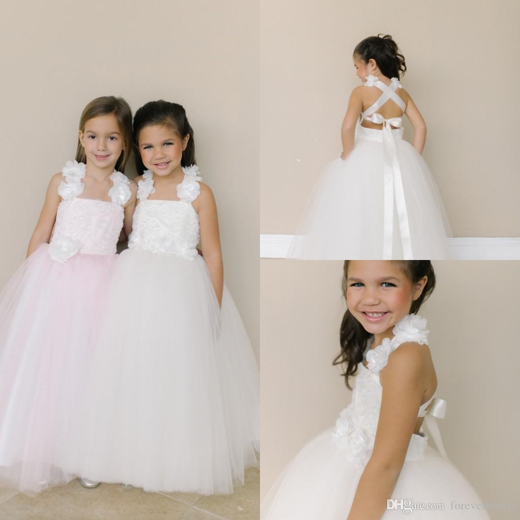 Tulle Handmade Flower Flower Girls Dresses Halter Neck Criss Cross Straps Girls Pageant Gowns Ankle Length Formal Kids Wear For Wedding