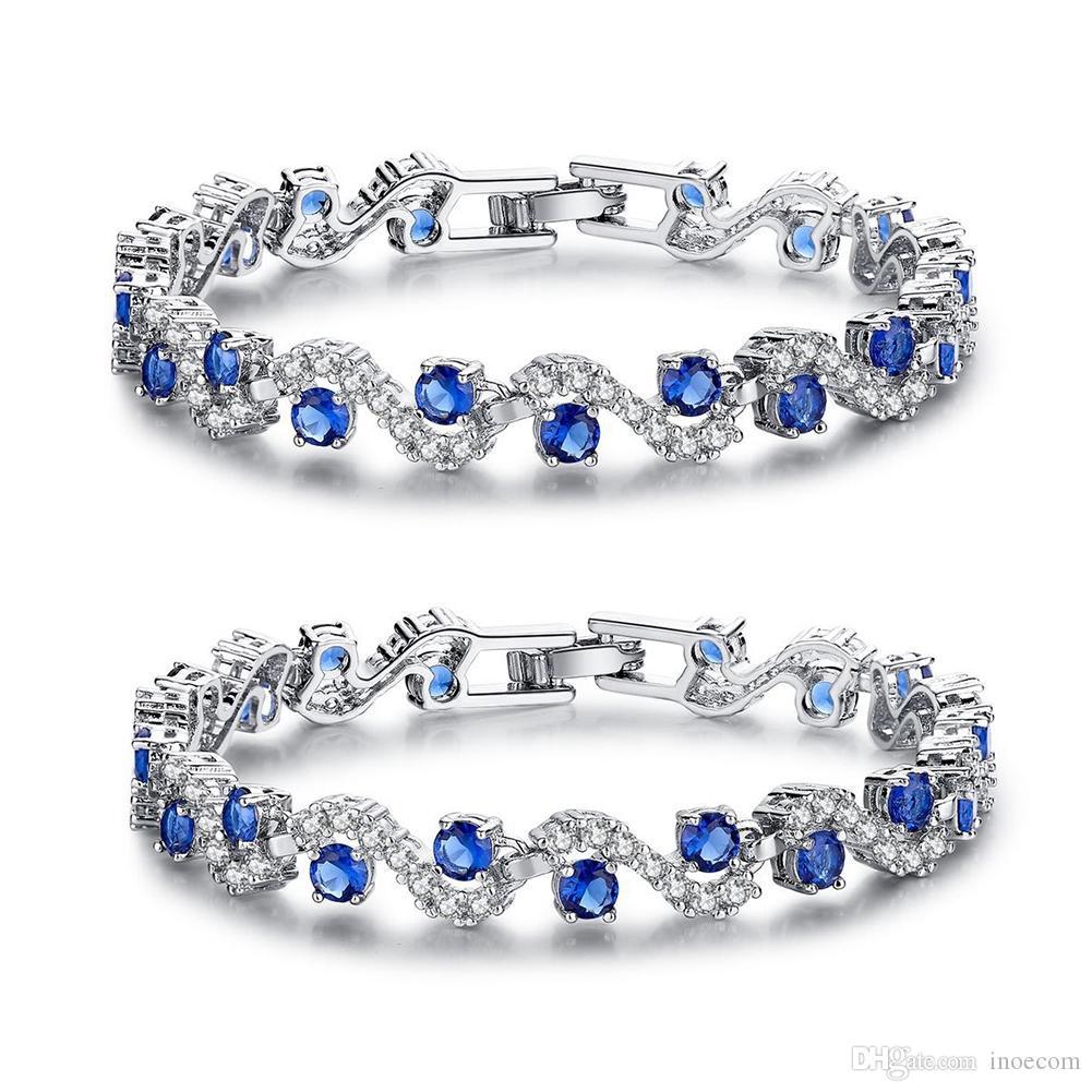 Popüler Mavi Kübik Zirkonya Srones Kadın Bilezik Saf Kadınlar Için 925 Ayar Gümüş Bilezikler Düğün Severler 'Hediye