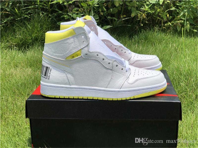 2019 Hot Sale 1 First Class Basketball Vol Chaussures Baskets Designer 1s Bar Jaune Blanc Code Sneakers Baskets des Chaussures Schuhe