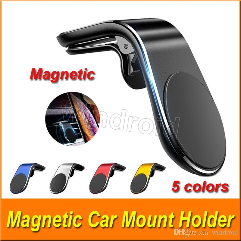 L Type Magnetic Car Phone Holder Air Vent Clip Phone Stand Mount for iPhone Samsung Huawei GPS Universal with retail package 5 colors
