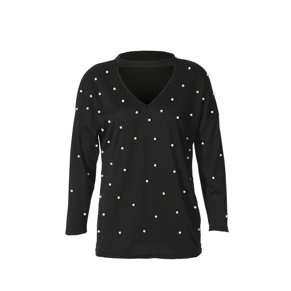 Mode féminine Perle perlage V Cut Choker Casual manches longues T-shirt Hauts Tops Cut Ladies