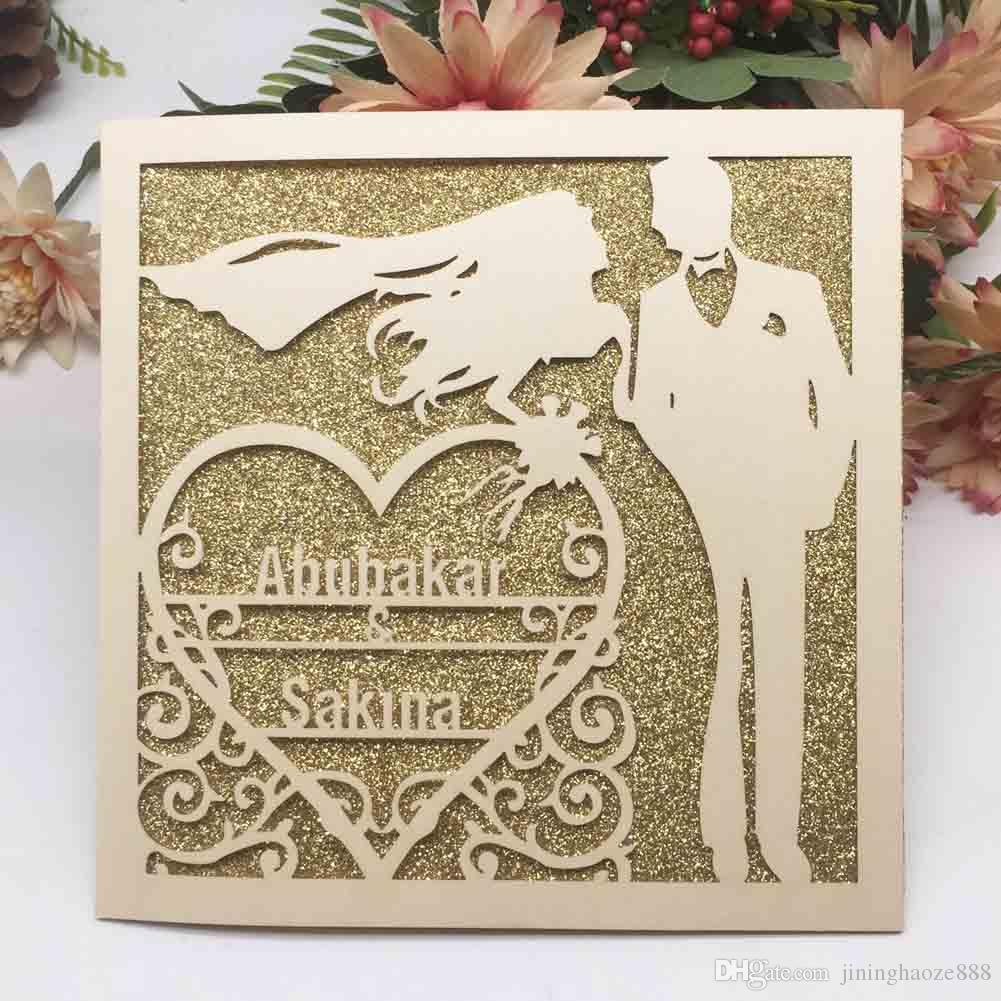 Hollow Laser Cut Personal Tailor Name Wedding Invitation Cards Decoration With Engagements Marriage Anniversary Invitations Card Wedding Invitation