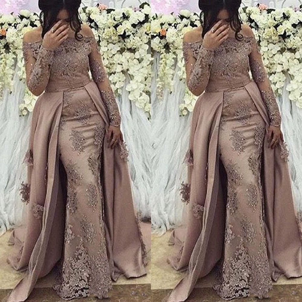 Novos vestidos de baile de árabe sexy para mulheres fora da mereca sereia mangas compridas lace apliques de cristal frisado formal vestido de noite vestido vestido de festa