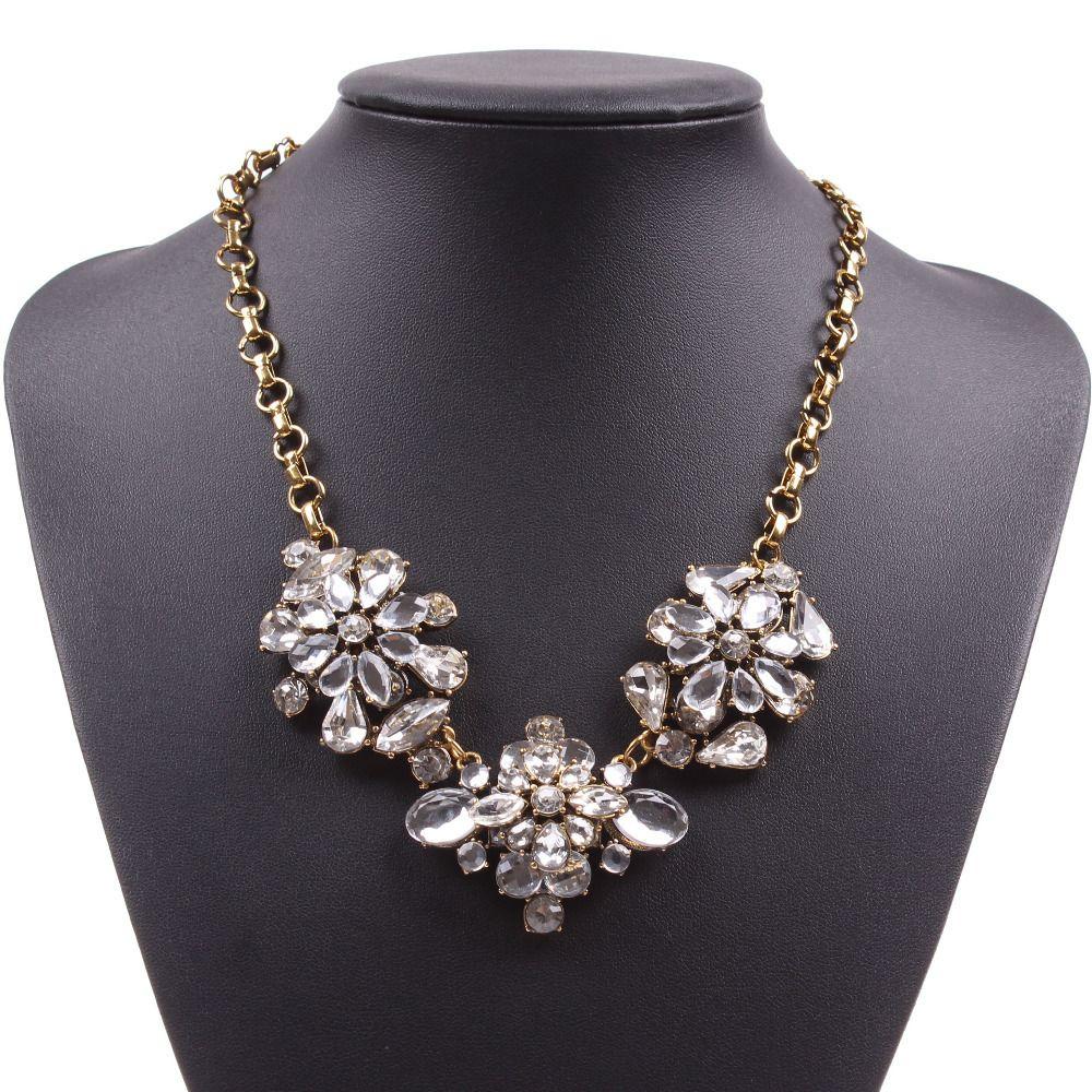 New Fashion simples Spring Flower baratos Cristal Corrente de Ouro Colar por Mulheres Florate marca de jóias