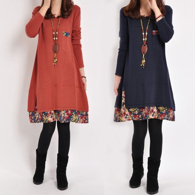 Vestido de invierno más el tamaño de vestido de las mujeres de la vendimia floral otoño Impreso bolsillo Streetwear remiendo de la manga larga suelta