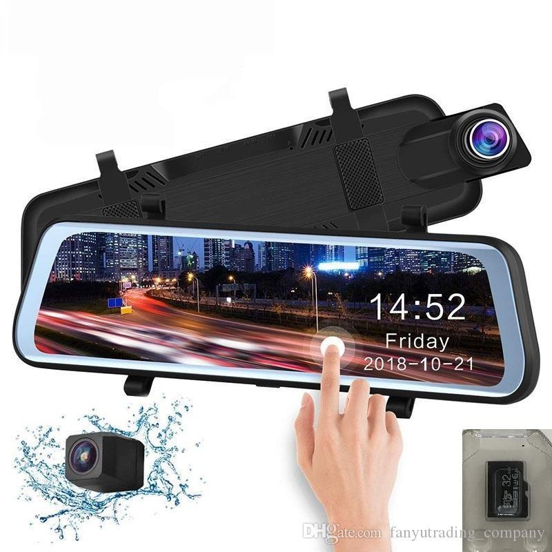 "10"" Full Touch Screen Stream Media Car DVR Rear View Mirrorx Dual Lens Reverse Backup Camera 1080P 170° Full HD Dash Camcorder"