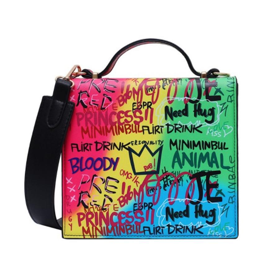 Одно плечо девичьих Модные женские сумки с красочными Письмо Сумка моды PH-CFY2001131