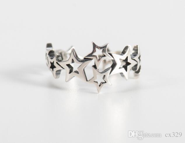 estrella anillo de plata esterlina s925 desgastado retro anillo abierto temperamento sencilla de las mujeres anillo de cinco puntas