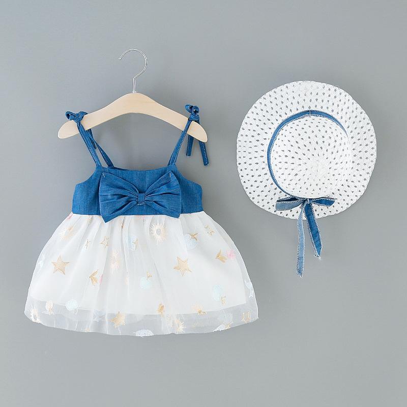2020 여름 아기 소녀 드레스 + 모자 2 개 비치면 키즈 의류 활 꽃 스타 귀여운 민소매 패치 워크 패션 드레스 쿨