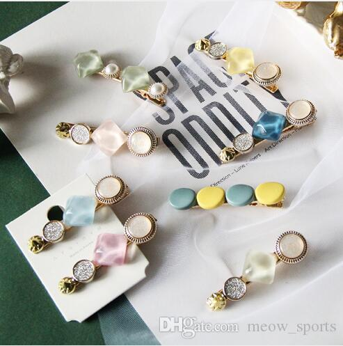 Macaron resin hairpins FLOWER With Hair Clips For Girls Kids Boutique Layers Bling Rhinestone Center Bows Hairpins Hair Accessories