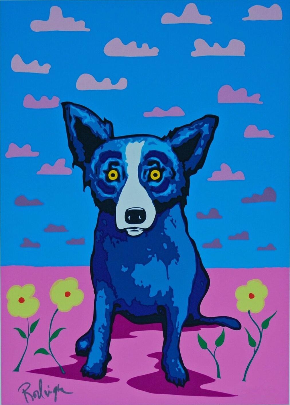 George Rodrigue Blue Dog You Make My Landscape Happy Home Décor peint à la main HD Imprimer Peinture à l'huile sur toile mur toile Photos 200115