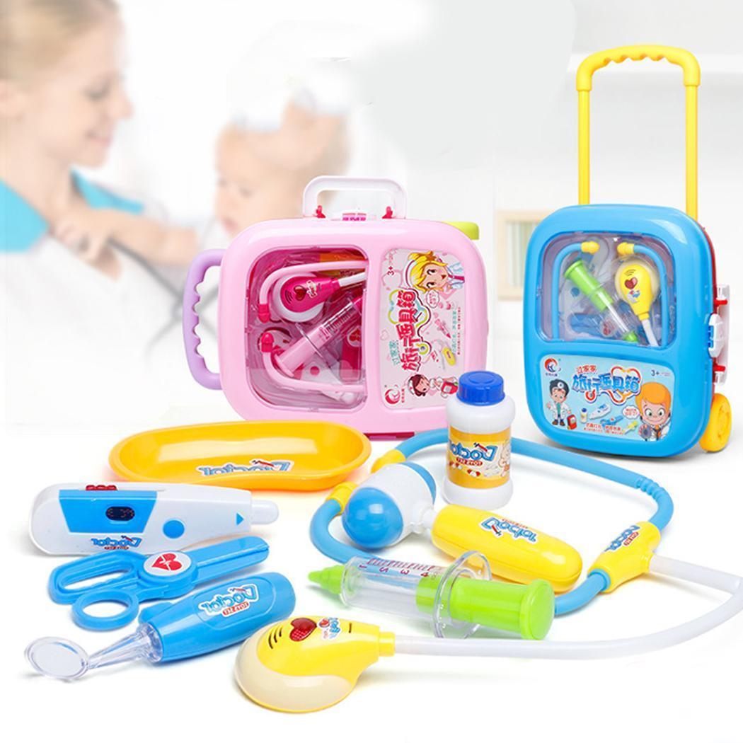8 Pcs Enfants Simulation Docteur Jouet Stéthoscope Jouets Portable Médical Outils Kit Trolley Cas Jouet