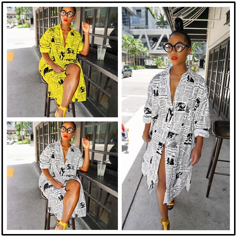 Новая мода Женская газета рубашка платье Turn Down Neck с длинным рукавом газетной печати Midi Повседневные платья весна Популярные Одежда Подарки 2020