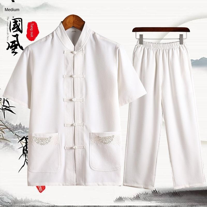 coton d'été chinois style hommes et Thème Costume Vêtement chanvre ethnique de milieu court été manches hommes âgés Han costume de lin haut moitié manches de d