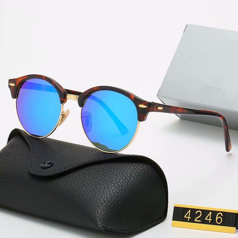 الكلاسيكية تصميم العلامة التجارية النظارات الشمسية جولة الفرقة نظارات معدن ذهب إطار نظارات الرجال النساء مرآة نظارات بولارويد زجاج عدسة مع صندوق 4246