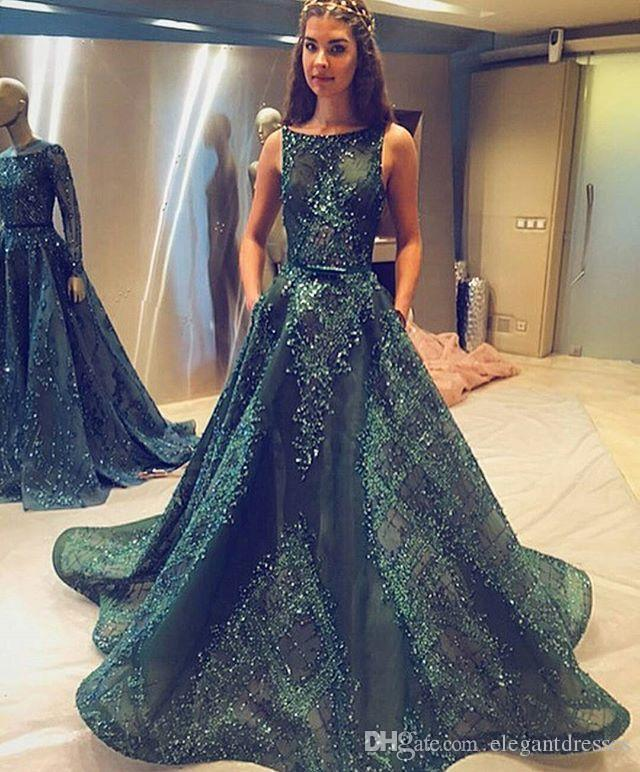 Fast Shipping A Line Illusion Green Cheap Elie Saab Beaded Prom Dresses Long Sexy Party Evening Dresses