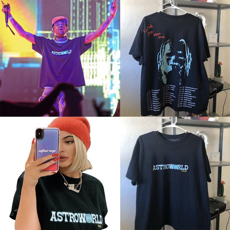 Travis Scott AstroWorld Tur Tişörtü erkekler kadınlar 1: 1 Travis Scott T Shirt Top Tees streetwear Hip Hop Kanye AstroWorld Tişörtü