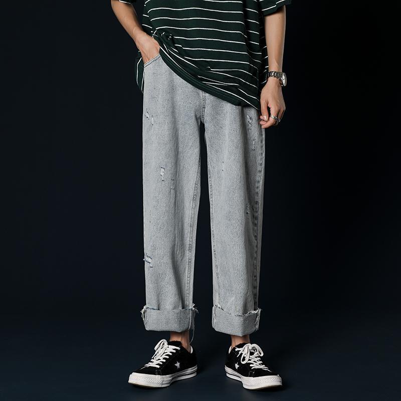 2019 Männer Tide Male Löcher Solid Color-beiläufige Hosen Baggy Homme klassische Cargo-Taschen-Jeans Helle Farbe lose Hosen M-2XL