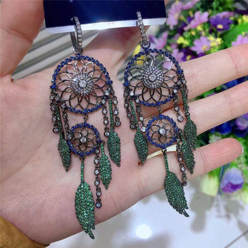 New Fashion Dreamcatcher Earrings For Women Brand Design Long Feather Stud Earring 2020 Luxury Wedding Gold Jewelery