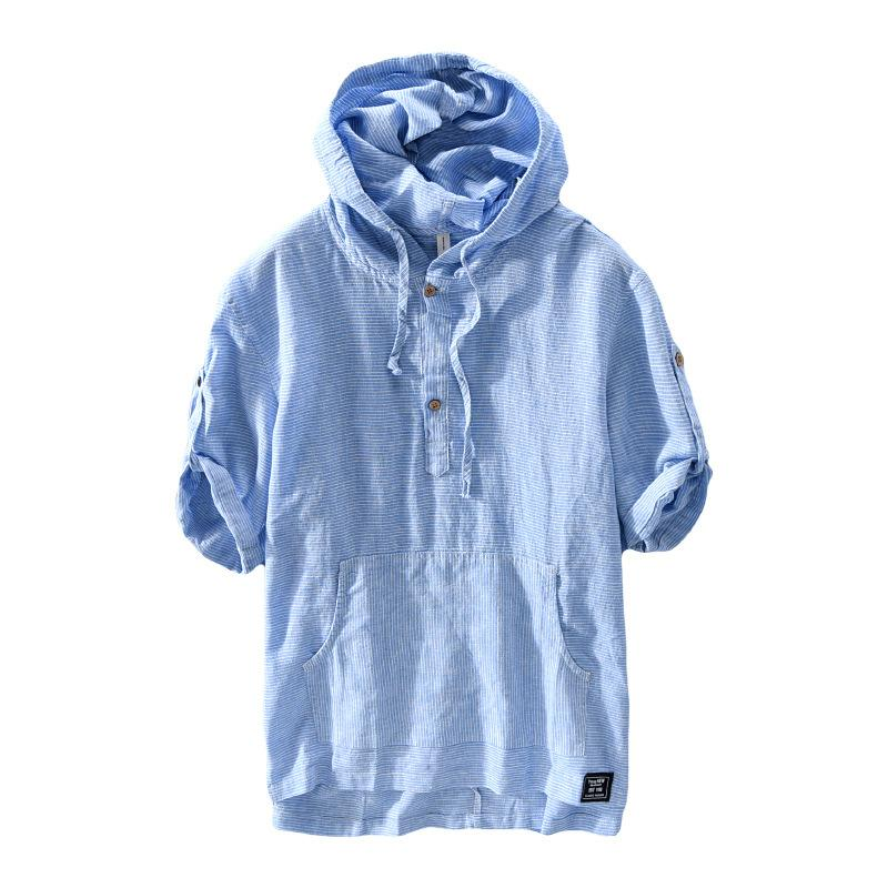 Summer Short Sleeve Loose Cotton and Linen Shirts Men Casual Breathable Shirt Stripes Hooded Linen Shirt Tops Male