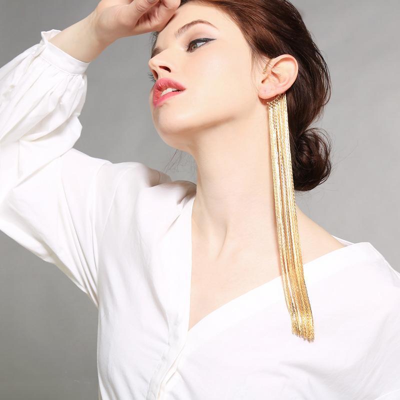 Personalidade feminina de Brincos de borla exagerada estilo Longo banquete vestidos brincos atacado jóias europeias e americanas