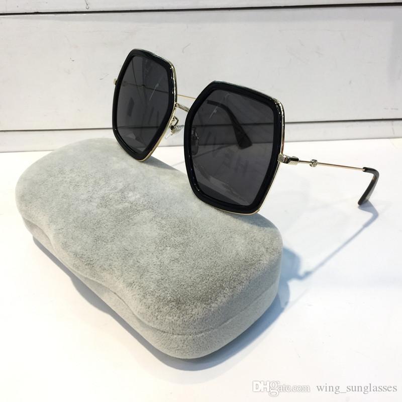 GUCCL GG0106S Новые квадратные солнцезащитные очки с зеркальным градиентом Blaze Мужчины Женщины роскошный дизайн Высочайшее качество Солнцезащитные очки Путешественник Oculos