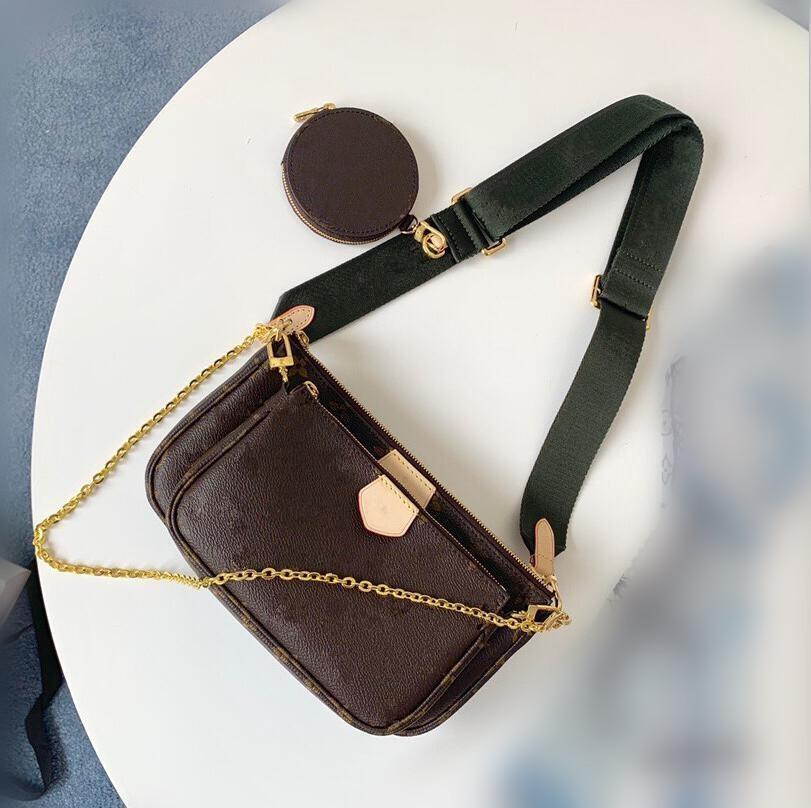Vente 3 pièces scénographes sacs femmes sac crossbody Véritable couleurs cuir 8 bretelles avec des créateurs de boîte dame 44823 Porte-monnaie