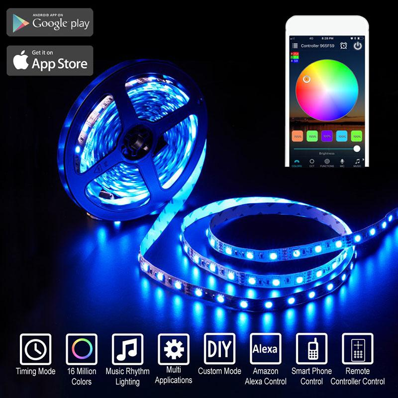 LED strips 5050 led strips Waterproof RGB stage light Smart WiFi control compatible Alexa Google home