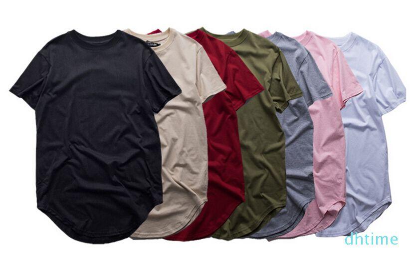 T-shirt estendida moda de alta qualidade Men Verão Curvo Hem Espinhel Hip Hop T-shirts Urban em branco Mens camiseta