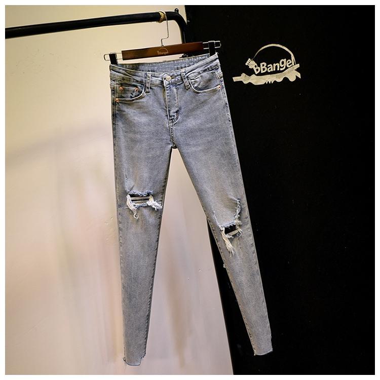 Light Blue Südkorea Mode zerrissene Jeans-Frauen Neue Lichtfarbe neun Minuten Hosen Chic anzeigen Thin Enge Fußhose