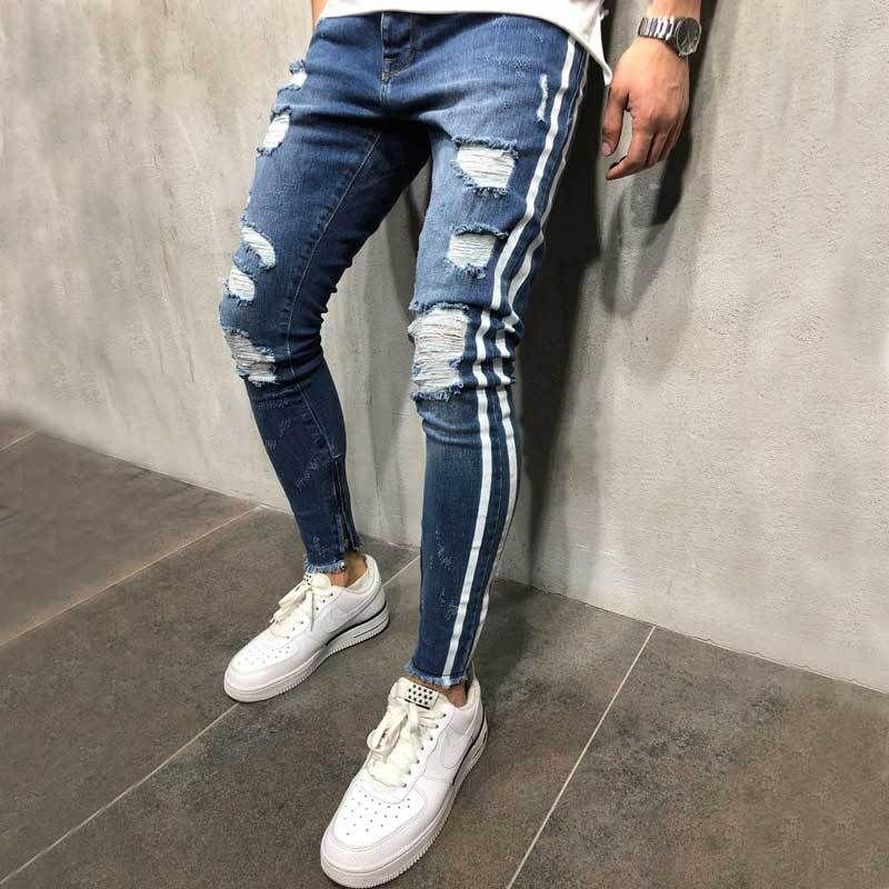Мужчины Стильный Ripped Hole Side Stripes Jeans Байкер Тощий Тонкий прямой Изношенные Denim брюки Мода Stretch карандаш штаны