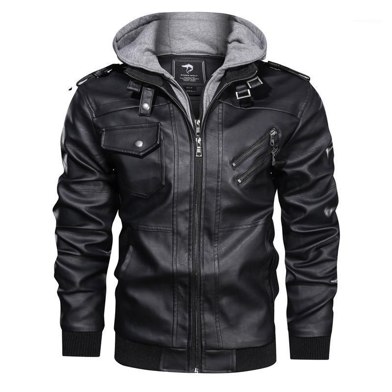 Vestes Automne et hiver Casual manches longues à capuche Zipper Vestes Mode Hommes Manteaux Hommes Designer Cuir