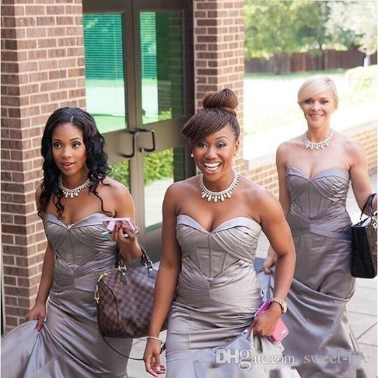 2020 Long Strapless Maid of Honor Evening Dress Mermaid Formal Prom Dresses Sleeveless Floor Length Bridesmaid Party Wear