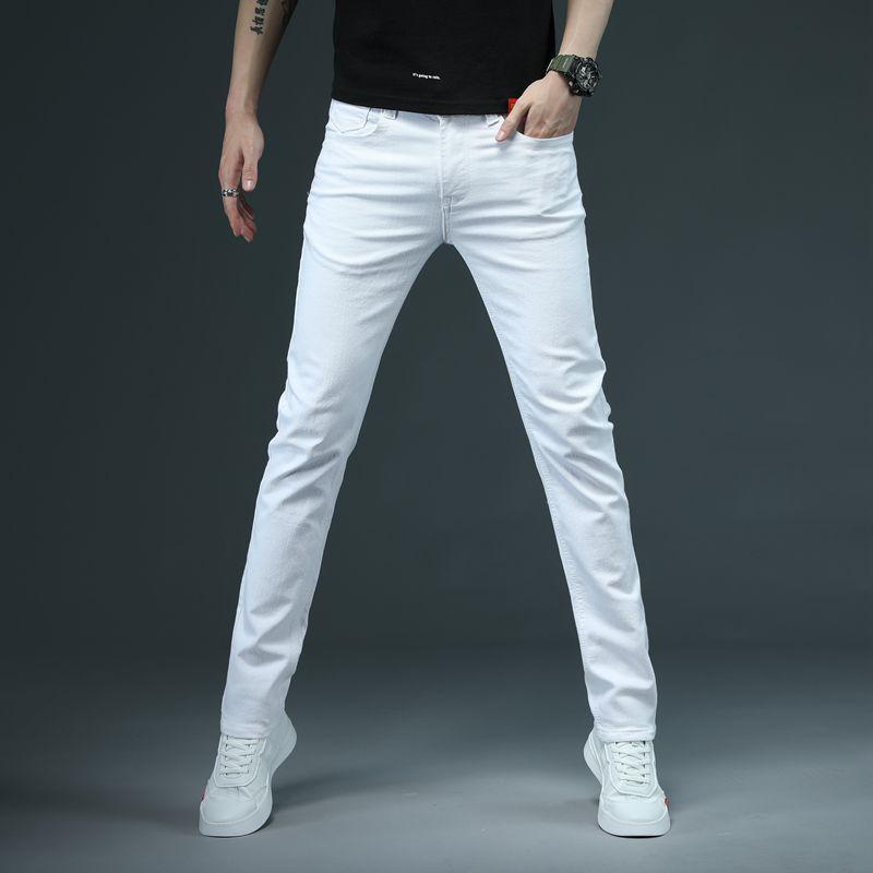 2020 Mens sólido de color blanco Vaqueros ajustados pantalones vaqueros del estiramiento de los hombres de los hombres ocasionales Fashioins Pantalones vaqueros ocasionales del tamaño Yong Boy Pantalones 38 estudiantes