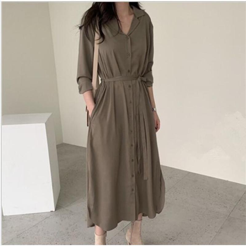 2020 Primavera otoño mujeres blusas casuales sueltas largas camisetas dama tops blusas moda femenina femenina manga de batwing sólido vestido cl376