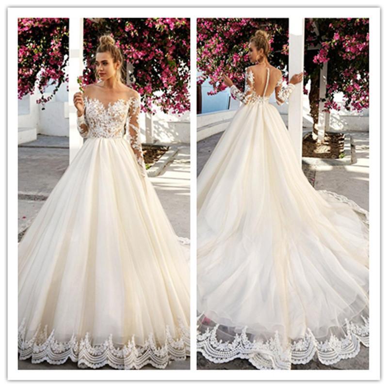 Illusion-Spitze-Mieder Brautkleider Sheer Ausschnitt transparente Rückseite Appliqued Spitze-Tulle eine Linie Brautkleider mit Langarm robe de mariee