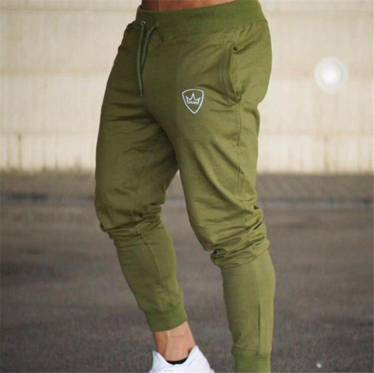 Fashion-Jogger Mens Sports Pants Fitness Stretch Long Mens Trousers Solid Color Male Pencil Pants
