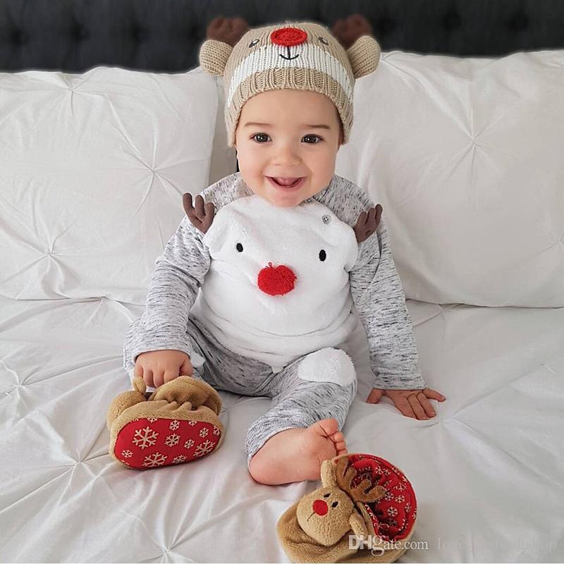 Kleinbaby-Säuglingsjungen-Entwerfer kleidet Karikaturbaumwolljungenausstattungen Weihnachtsklage 2019 Kindtrainingsanzug-Babybodysuit-Butikenkleidung