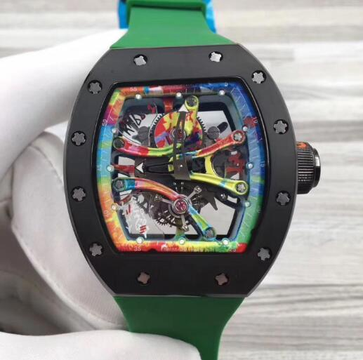 Fashion Brand Men Mechanical Watch Black Stainless Skeleton Transparent Openworked Dial Green Rubber Strap Luxury Mens Automatic Wristwatch