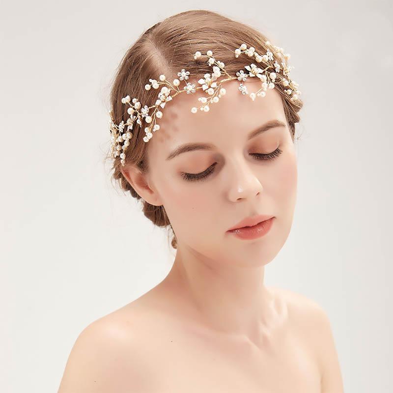 Frauen Mädchen Hochzeit Tiara Kronen Gold Hairbands Braut Hochzeit Krone Perle Blume Kristall Stirnbänder Braut LB