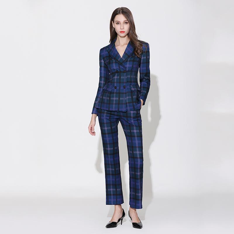 2019 preço de fábrica elegantes Runway Plus Size Calças americanos europeus Terno Sets manta impressão Blazer alargamento calças Qualidade gêmeas