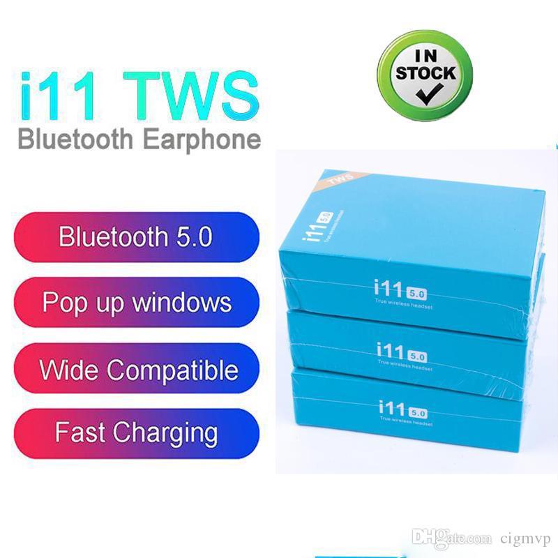 توس I11 بلوتوث 5.0 سماعات بلوتوث اللاسلكية تلح ستيريو النافذة المنبثقة سماعات الأذن سماعات رأس لاسلكية مع التحكم باللمس لDHL الهواتف الذكية