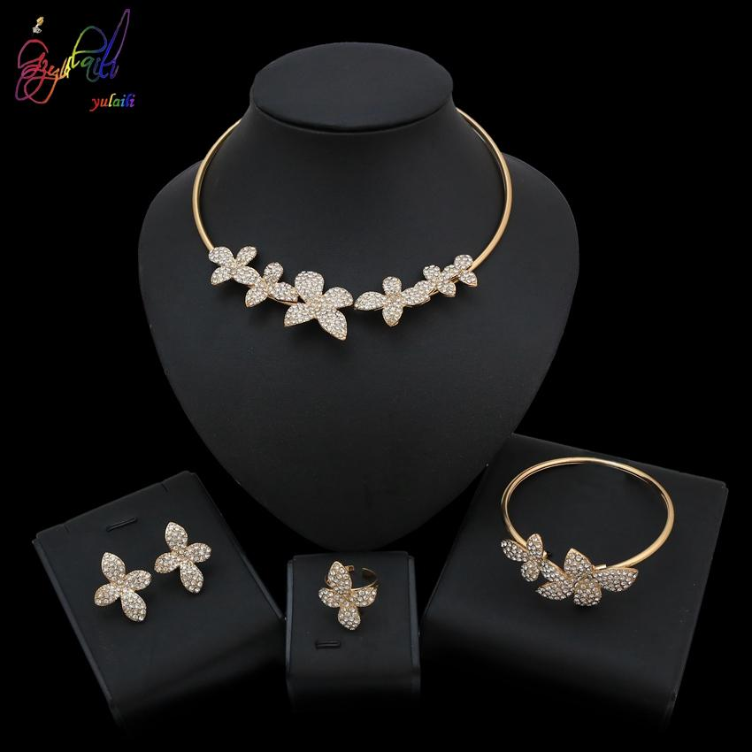 Yulaili High Quality Jewelry Set With Newfashioned Gold Round Choker Flower Necklace For Women Wedding Party Occasion Design