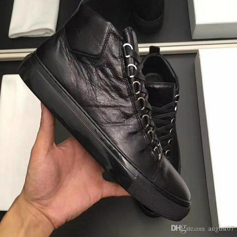 Gros-nouveaux hommes véritables Nom du cuir chaussures casual couleurs arène bas chausse la taille 38-47 Livraison gratuite wq8