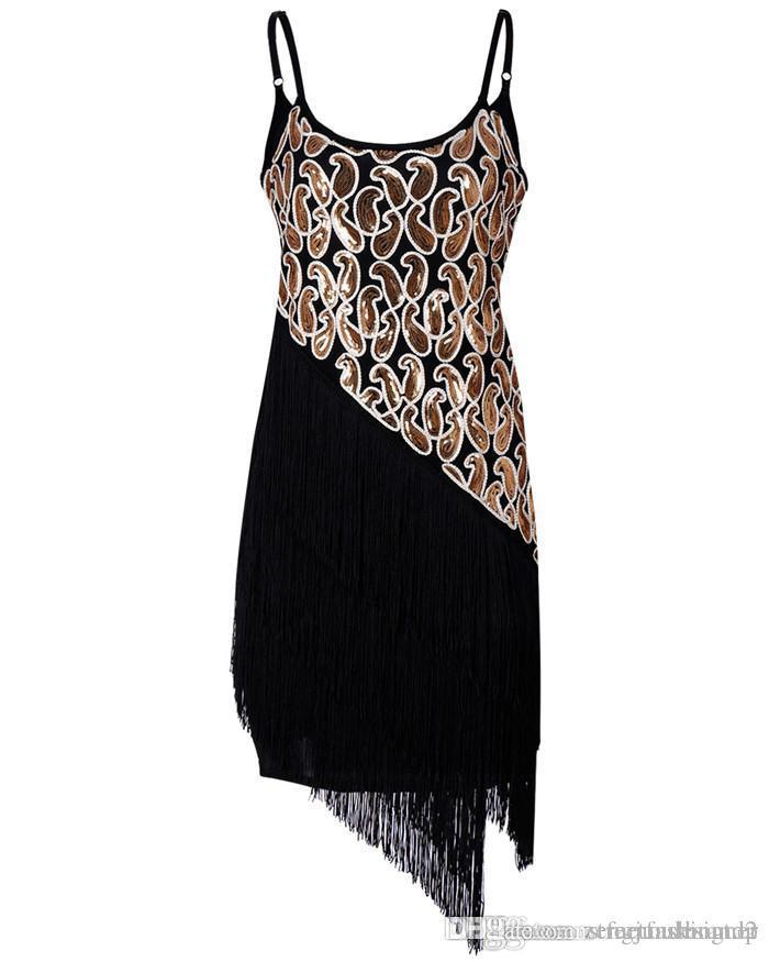 Partido diseñador del club de noche del estilo de vestidos de verano de las mujeres de la borla de las lentejuelas Mujer ropa de moda con cuello en V ropa ocasional